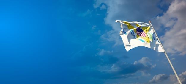Piękne flagi państwowe wysp dziewiczych na błękitne niebo