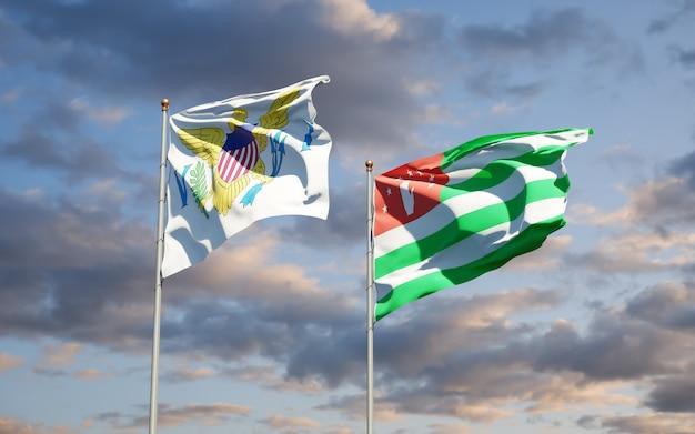 Piękne flagi państwowe wysp dziewiczych stanów zjednoczonych i abchazji razem
