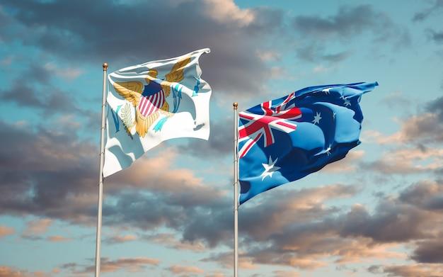 Piękne flagi państwowe wysp dziewiczych stanów zjednoczonych i australii razem
