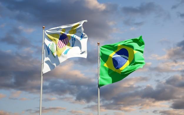 Piękne flagi państwowe wysp dziewiczych stanów zjednoczonych i brazylii razem na błękitne niebo