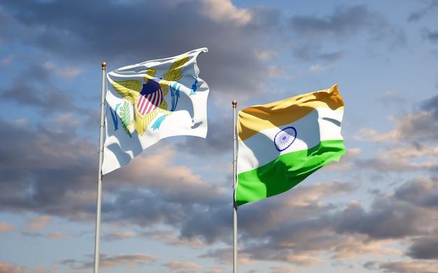 Piękne flagi państwowe wysp dziewiczych stanów zjednoczonych i indii razem