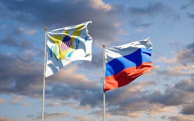Piękne flagi państwowe wysp dziewiczych stanów zjednoczonych i rosji razem na błękitne niebo. grafika 3d