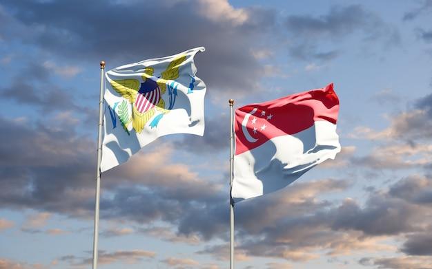 Piękne flagi państwowe wysp dziewiczych stanów zjednoczonych i singapuru