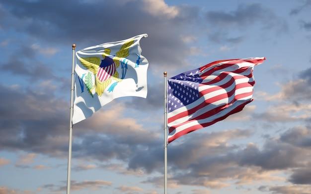 Piękne flagi państwowe wysp dziewiczych stanów zjednoczonych i usa razem