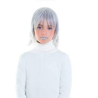 Piękne futurystyczne dziecko dziewczynka futurystyczne dziecko z siwe włosy