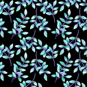Piękne gałęzie z zielonymi, fioletowo-niebieskimi liśćmi. wzór. ręcznie rysowane akwarela ilustracja. tekstura do druku, tkaniny, tkaniny, tapety.