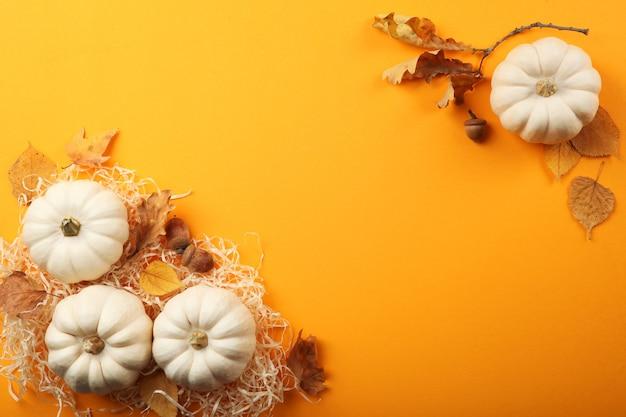 Piękne jesienne tło z opadłymi liśćmi z miejscem na tekst widok z góry