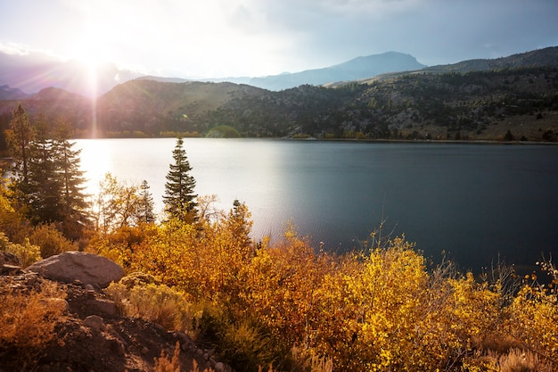 Piękne jezioro jesienią