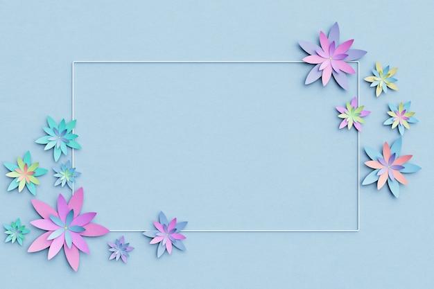 Piękne kompozycje kwiatowe. kwiaty na jasnoniebieskim tle. pusta ramka na tekst. kartka z życzeniami. leżał płasko, kopia przestrzeń. leżał płasko, kopia przestrzeń. ilustracja 3 d.