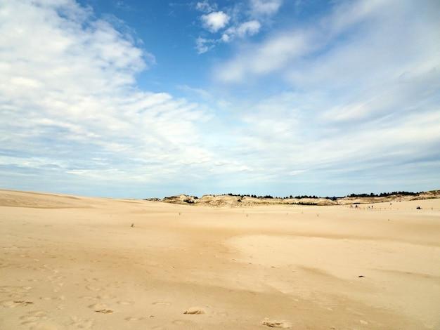 Piękne krajobrazy piaszczystej plaży pod zachmurzonym niebem w łebie