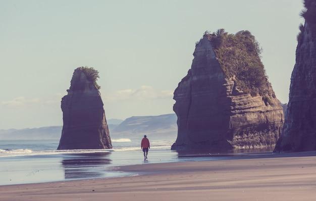 Piękne krajobrazy to ocean beach w nowej zelandii. inspirujące tło naturalne i podróżnicze