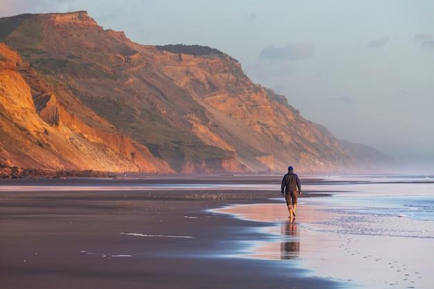 Piękne krajobrazy to ocean beach w nowej zelandii.