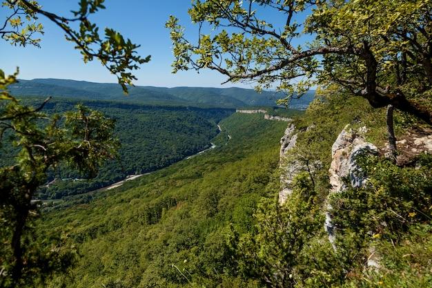 Piękne krajobrazy w zielonych wysokich górach adygei, tarasy widokowe rzeki belaya