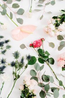 Piękne kwiaty: róże, eringium, kwiat anturium, eukaliptus na białym tle.