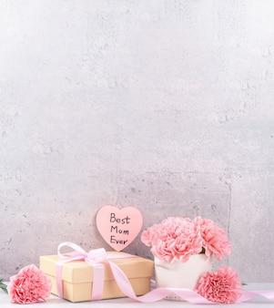 Piękne kwitnące goździki z pudełkiem z różową wstążką na białym tle na jasnym tle szare tło biurko, z bliska, kopia przestrzeń