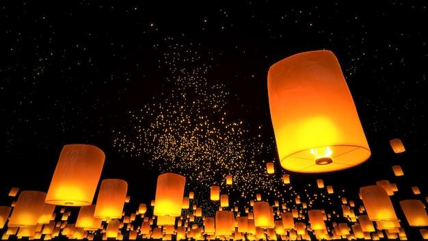 Piękne latarnie latające na nocnym niebie