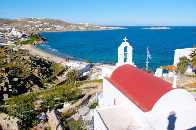Piękne miasto z widokiem na ulicę mykonos grecja island