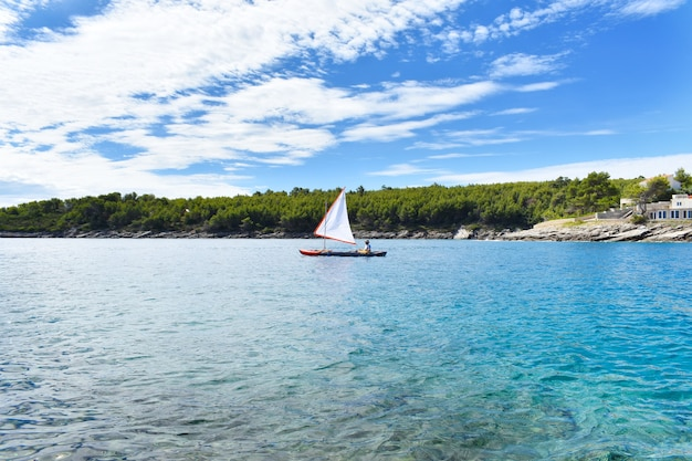 Piękne morze adriatyckie. zielona sosna, niebiesko-turkusowa woda, słoneczna pogoda. żaglówka i żeglarz. hvar chorwacja, europa.
