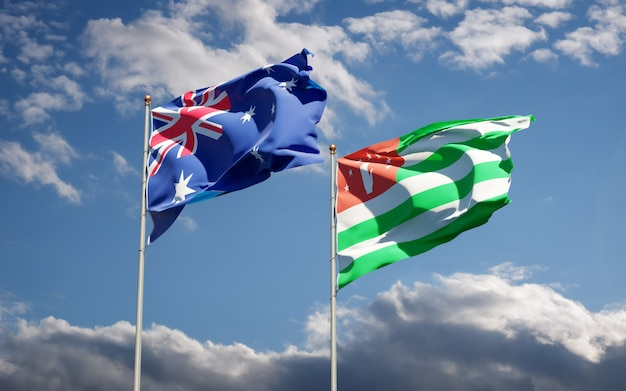 Piękne narodowe flagi państwowe abchazji i australii razem