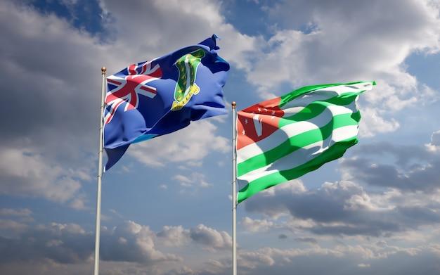 Piękne narodowe flagi państwowe abchazji i brytyjskich wysp dziewiczych razem