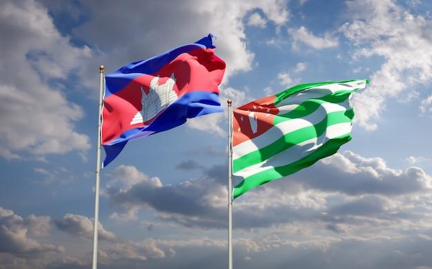 Piękne narodowe flagi państwowe abchazji i kambodży razem