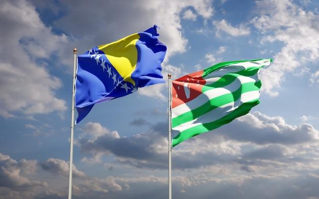Piękne narodowe flagi państwowe abchazji oraz bośni i hercegowiny razem