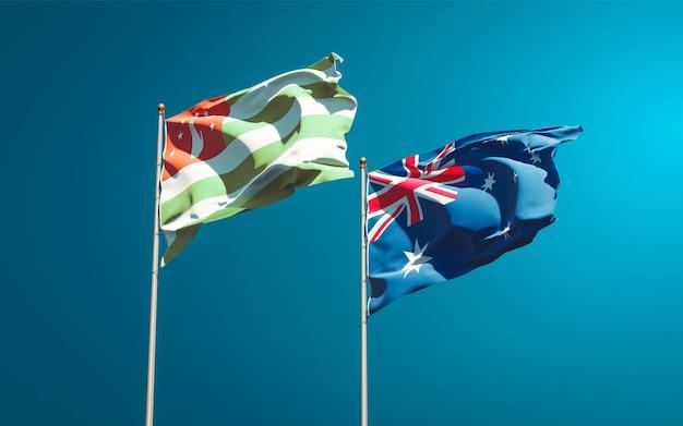 Piękne narodowe flagi państwowe australii i abchazji razem