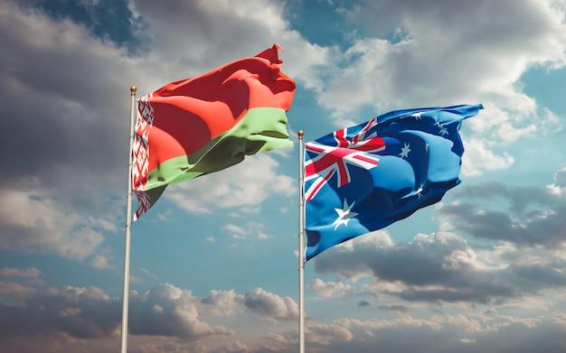Piękne narodowe flagi państwowe australii i białorusi razem
