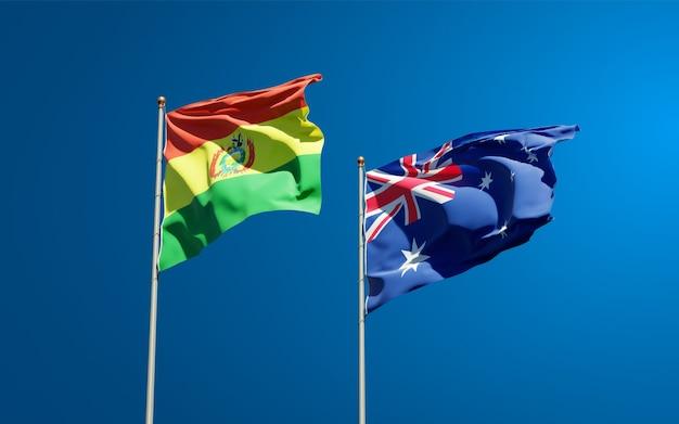 Piękne narodowe flagi państwowe australii i boliwii razem
