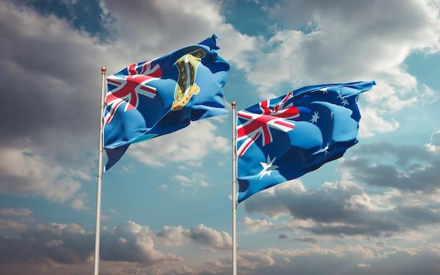 Piękne narodowe flagi państwowe australii i brytyjskich wysp dziewiczych razem