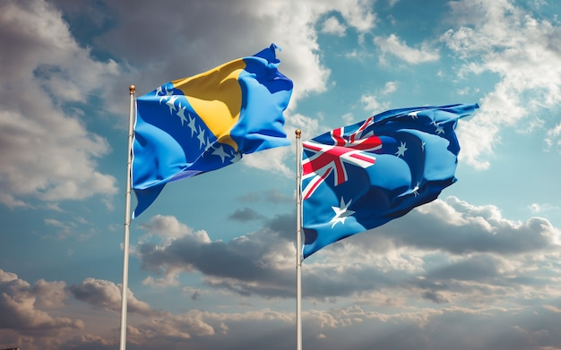 Piękne narodowe flagi państwowe australii oraz bośni i hercegowiny razem