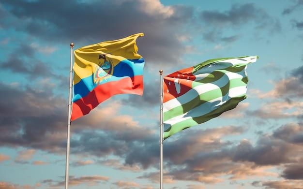 Piękne narodowe flagi państwowe ekwadoru i abchazji razem
