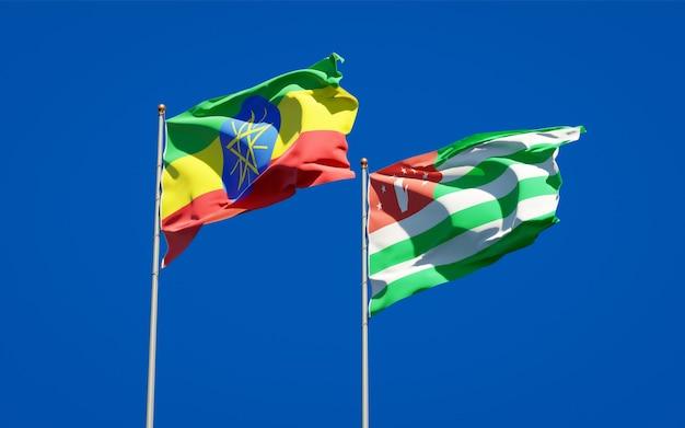 Piękne narodowe flagi państwowe etiopii i abchazji razem