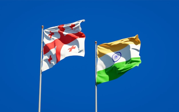 Piękne narodowe flagi państwowe gruzji i indii razem
