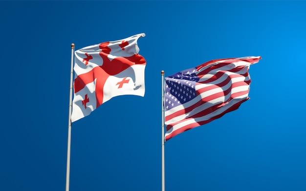 Piękne narodowe flagi państwowe gruzji i usa razem