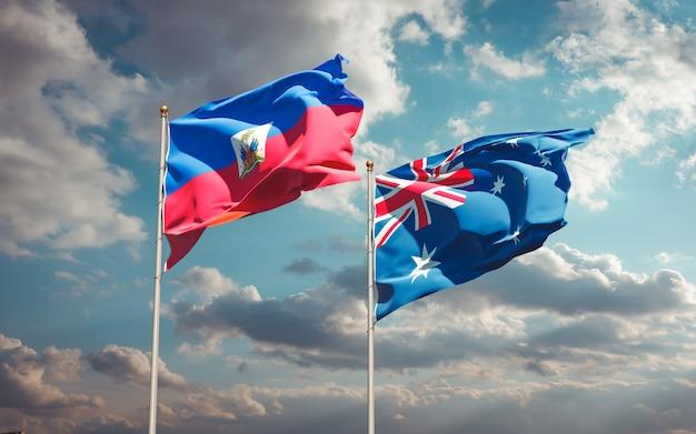Piękne narodowe flagi państwowe haiti i australii razem