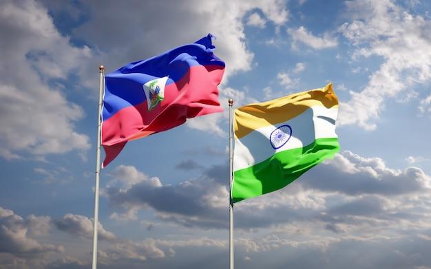 Piękne narodowe flagi państwowe haiti i indii razem