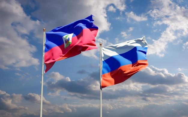 Piękne narodowe flagi państwowe haiti i rosji razem na błękitnym niebie. grafika 3d