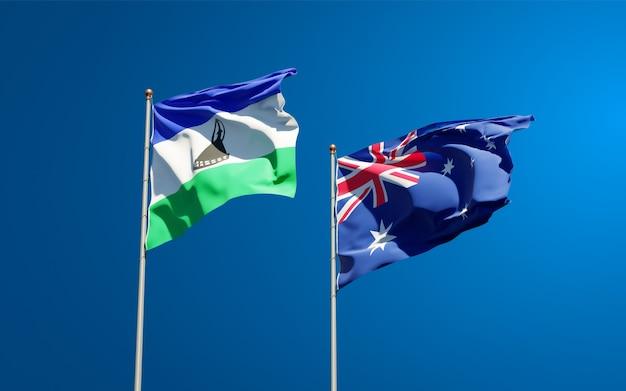 Piękne narodowe flagi państwowe lesotho i australii razem