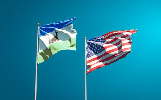 Piękne narodowe flagi państwowe lesotho i usa razem