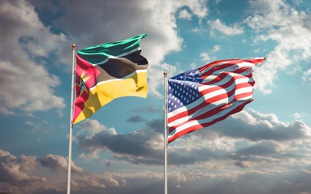 Piękne narodowe flagi państwowe mozambiku i usa razem