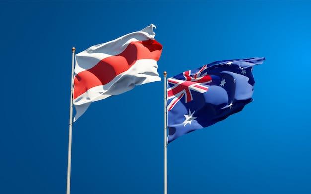 Piękne narodowe flagi państwowe nowej białorusi i australii razem
