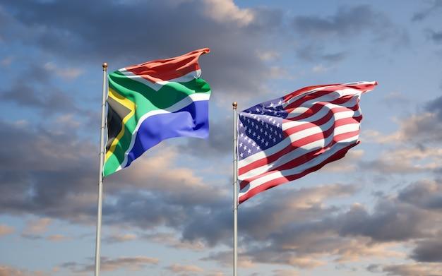 Piękne narodowe flagi państwowe republiki południowej afryki i usa razem