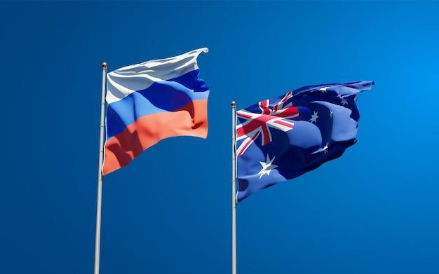 Piękne narodowe flagi państwowe rosji i australii razem