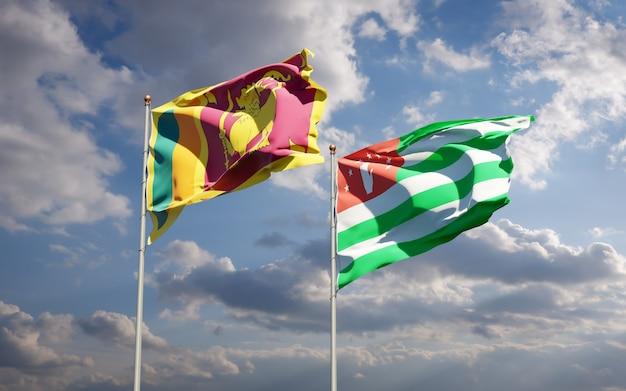 Piękne narodowe flagi państwowe sri lanki i abchazji razem