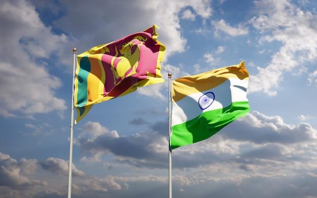 Piękne narodowe flagi państwowe sri lanki i indii razem