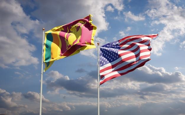 Piękne narodowe flagi państwowe sri lanki i usa razem