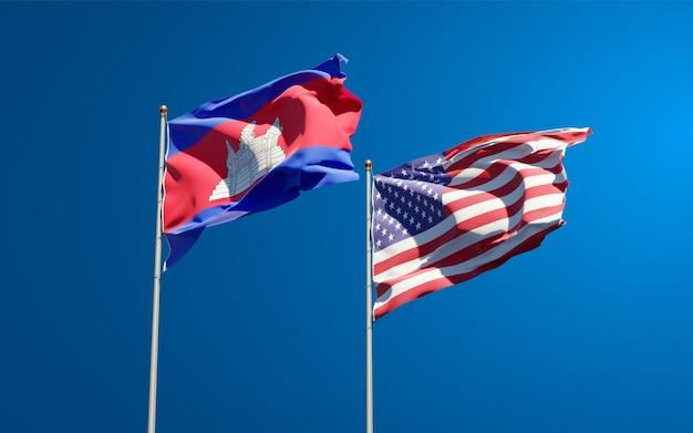 Piękne narodowe flagi państwowe usa i kambodży razem