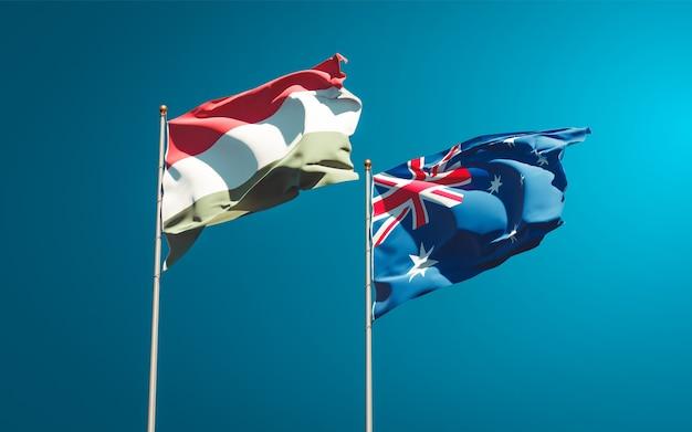 Piękne narodowe flagi państwowe węgier i australii razem