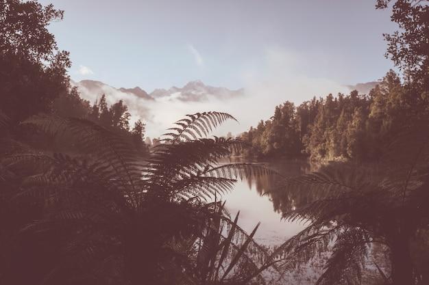 Piękne naturalne krajobrazy - odbicie mt cook w lake matheson, wyspa południowa, nowa zelandia